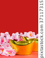 Chinese New Year decorations on red background 37117315