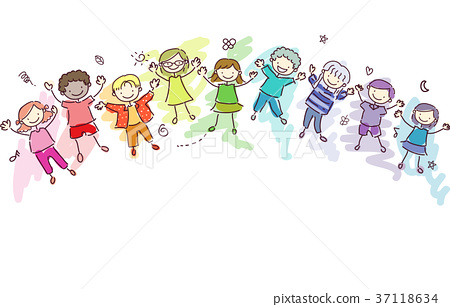Stickman Kids Rainbow Children Illustration 37118634