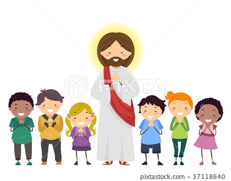 stickman kids jesus praying illustration ��������