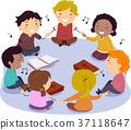 Stickman Kids Singing Praise Illustration 37118647