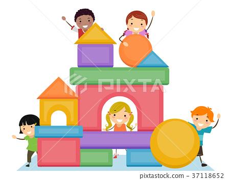 Stickman Kids Basic Shapes Blocks Illustration 37118652