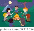 Stickman Kids Camp Bonfire Illustration 37118654