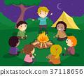 Stickman Kids Camp Fire Story Telling Illustration 37118656
