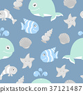 Cute seamless pattern with sea animals 37121487