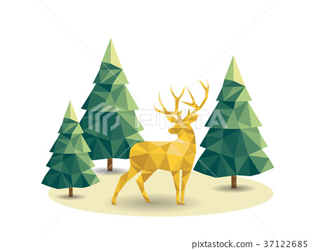 Low poly Christmas scene with reindeer and pines 37122685