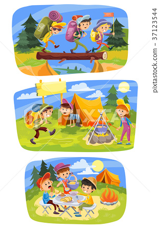 Kids summer camping vector concept illustration 37123544