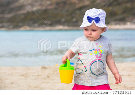 Girl playing at the Balos beach on Crete, Greece 37123915
