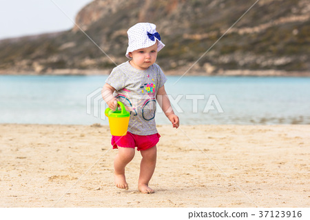 Girl playing at the Balos beach on Crete, Greece 37123916