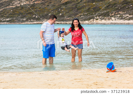 Family with little boy on holidays, Crete, Greece 37123918