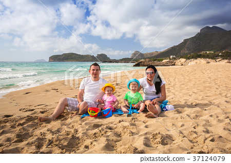 Happy family with twins on sun holidays in Greece 37124079