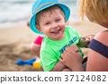 beach, family, coast 37124082