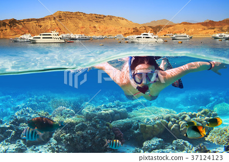 Young woman at snorkeling in the tropical water 37124123
