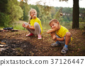 happy children hiking in the forest 37126447