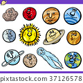 Planets and Orbs Cartoon Characters Set 37126578