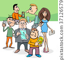 cartoon people group with electronic devices 37126579