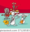 rabbits rock musicians band cartoon illustration 37126583