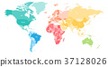 Colorful political map of World divided into six 37128026