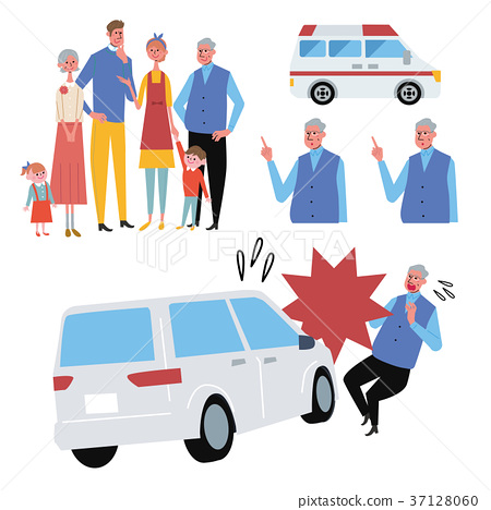 Elderly person who meets an accident illustration set 37128060