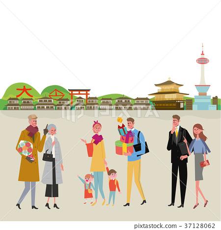 走在城市京都例證的人們 37128062