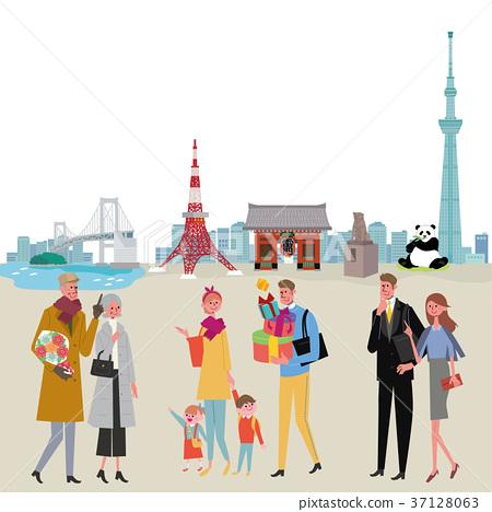 走在城市東京例證的人們 37128063