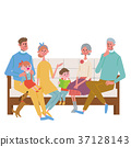 Three generation family illustration sitting on sofa 37128143