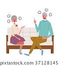 資深夫婦例證坐長沙發 37128145