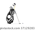 Golf equipment golf ball and golf bag isolated  37129283