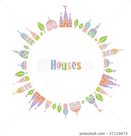 Cute house and tree with triangular roof lined up in a circle 37129673