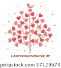 Valentine heart tree and little bird 37129674
