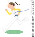 慢跑的年輕女子。 37130237
