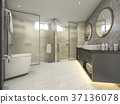 modern black bathroom with luxury tile decor 37136078