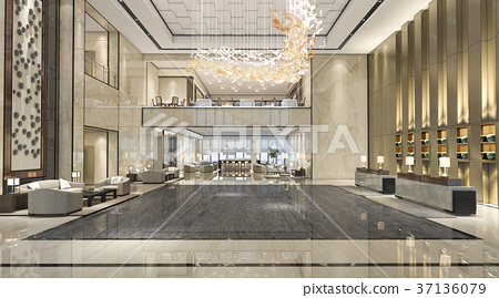 luxury hotel reception hall and lounge restaurant 37136079