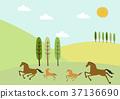 말과 봄 풍경. 봄의 이미지 일러스트. 계절의 소재. 37136690