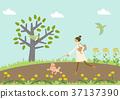 개를 산책하는 젊은 여자. 봄의 이미지. 신록의 계절. 37137390