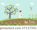 개를 산책하는 젊은 여자. 봄의 이미지. 신록의 계절. 37137391