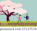 벚꽃과 산책하는 커플. 봄의 이미지. 37137576