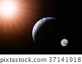 Landscape image of Sun, Earth and moon  37141918