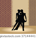Dancing club poster. Couple dancers perform tango. 37144441