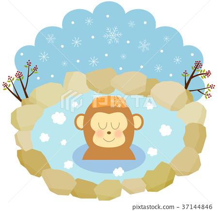 猴子 温泉 放松 37144846