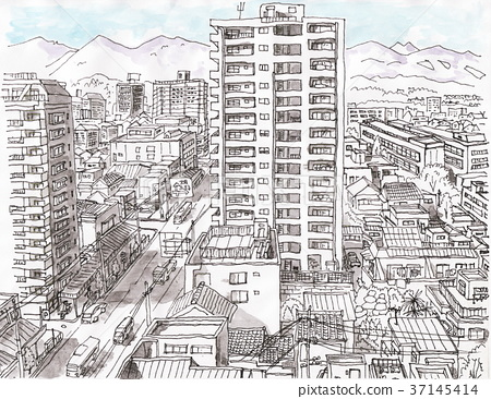 Streets of Hachioji and the mountains of Okutama 37145414