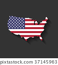 USA flag in a shape of US map silhouette. United 37145963