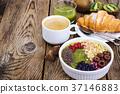 breakfast, coffee, croissant 37146883