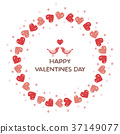 Valentine Heart wreath and love love little bird 37149077