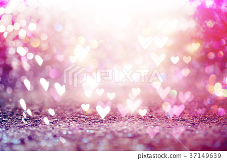 Beautiful shiny hearts and abstract lights 37149639