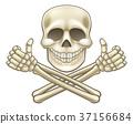 Cartoon Skull and Crossbones Pirate Thumbs Up 37156684