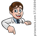 Pointing Cartoon Scientist Character Sign 37156694