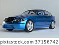 Three-Dimensional Blue Sedan Studio Shot 37156742