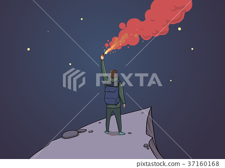 Tourist with the flare on a mountain looking at 37160168