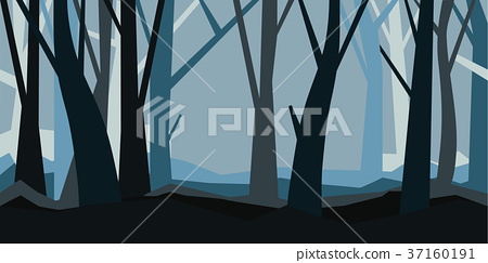 Forest without leaves in the dusk. Misty landscape 37160191