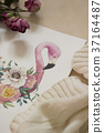 Workspace. Exotic flowers and flamingo painted 37164487